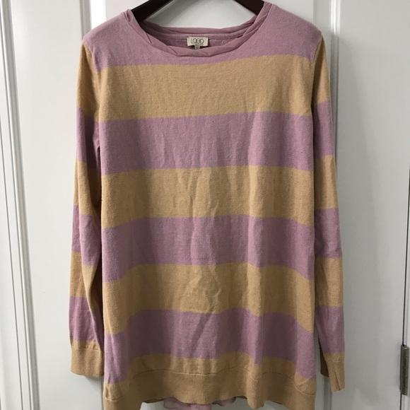LOGO by Lori Goldstein Sweaters - LOGO Lori Goldstein Split-Back Striped Sweater